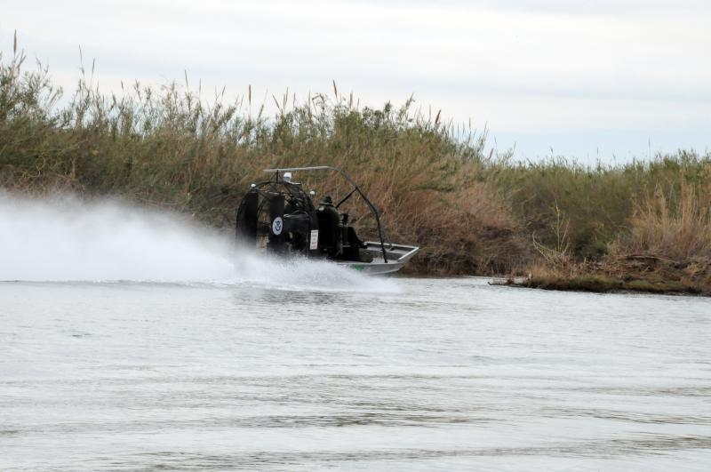 Photo of Border Patrol agents patrolling the water