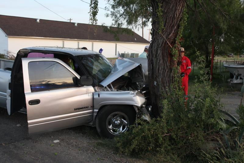 truck smashed into tree