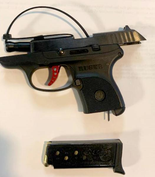 A search of the vehicle revealed a Ruger .380-caliber firearm.