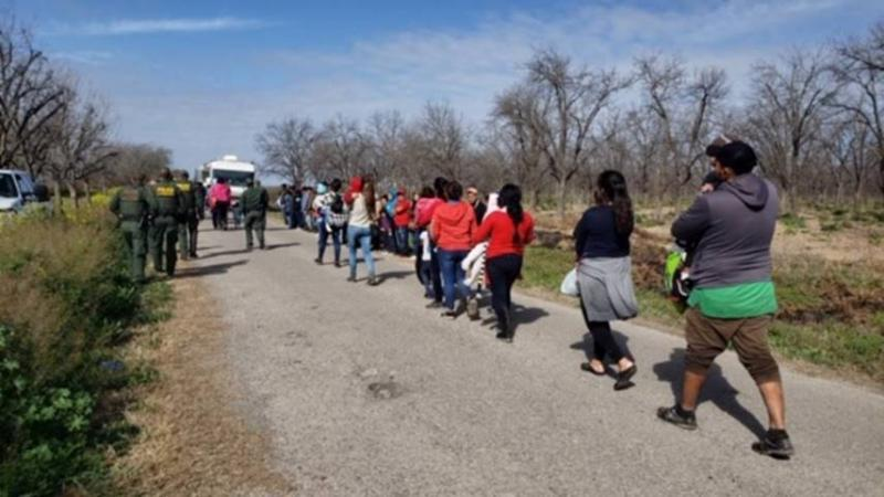 Border Patrol agents encountered a group of 90 people who had recently crossed the Rio Grande River.