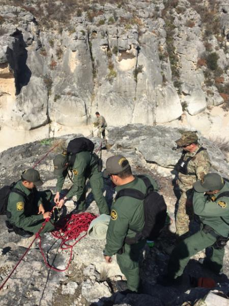 Del Rio Sector BORSTAR agents recover a deceased subject from a canyon on a local ranch.