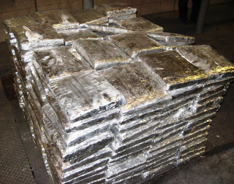 Packages containing 790 pounds of marijuana hidden within a commercial shipment of cucumbers seized by CBP officers at Pharr International Bridge