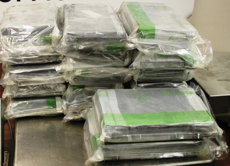 Packages containing 48.28 pounds of cocaine seized by CBP officers at Hidalgo International Bridge