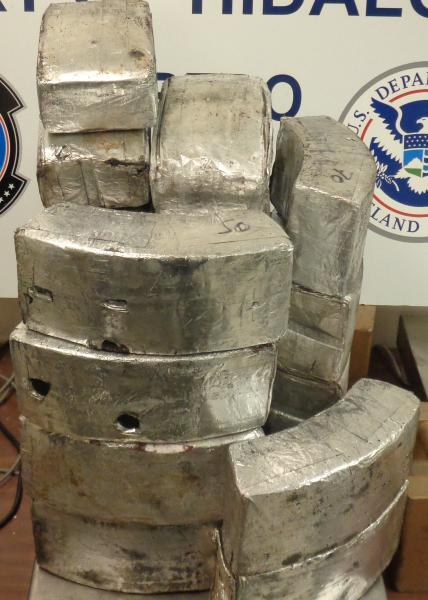 Packages containing 136 pounds of methamphetamine seized by CBP officers at Hidalgo International Bridge