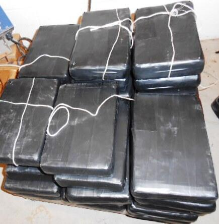 Packages containing 82.59 pounds of cocaine seized by CBP officers at Anzalduas International Bridge