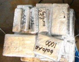 Packages containing 43 pounds of heroin, 38 pounds of cocaine by CBP officers at Pharr-Reynosa International Bridge
