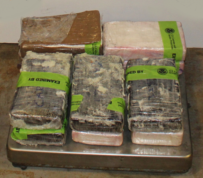 Packages containing 23.48 pounds of cocaine seized by CBP officers at Pharr International Bridge