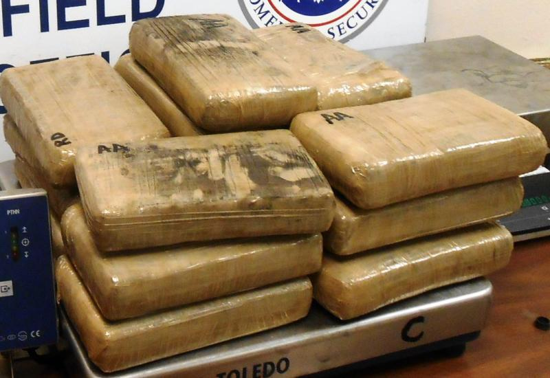 Packages containing 40.61 pounds of cocaine seized by CBP officers at Hidalgo International Bridge