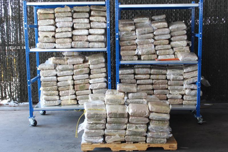 Packages containing 1,205 pounds of marijuana seized by CBP officers at World Trade Bridge