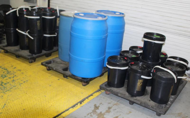 Containers filled with 1,211 pounds of methamphetamine seized by CBP officers in a tractor trailer