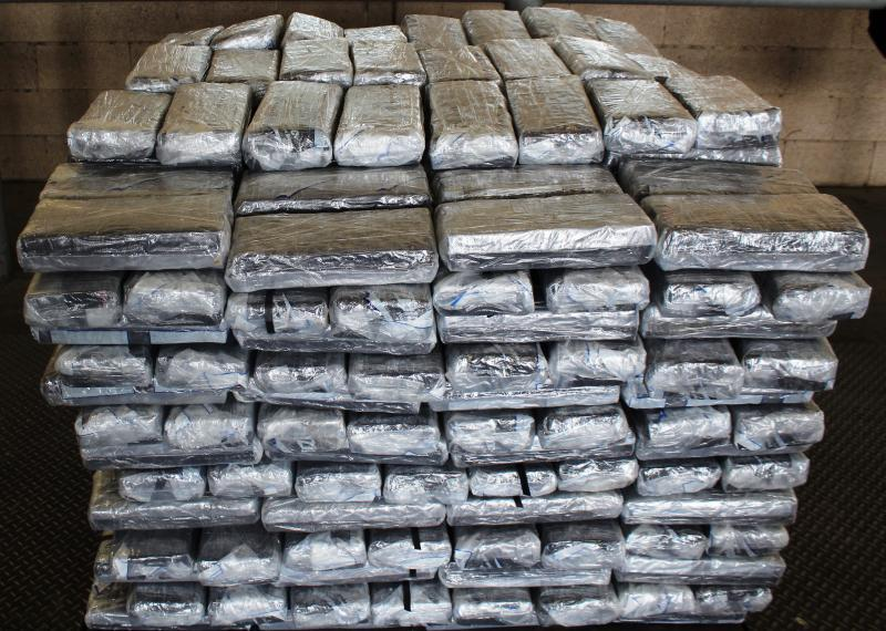 Packages containing 1,055 pounds of marijuana seized by CBP officers at Pharr International Bridge