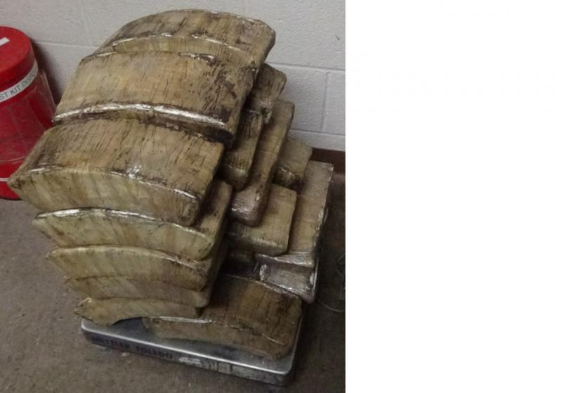 Packages containing 122 pounds of cocaine seized by CBP officers at Brownsville Port of Entry