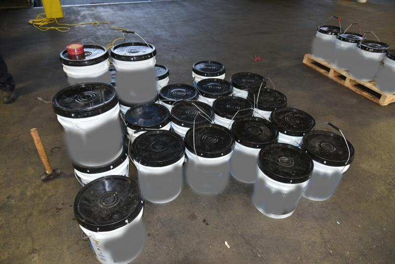 Containers filled with 1,234 pounds of methamphetamine seized by CBP officers at World Trade Bridge