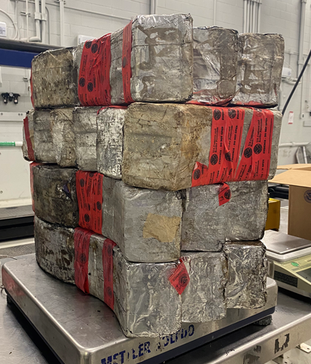 Packages containing 132 pounds of methamphetamine seized at Laredo's Juarez-Lincoln Bridge.