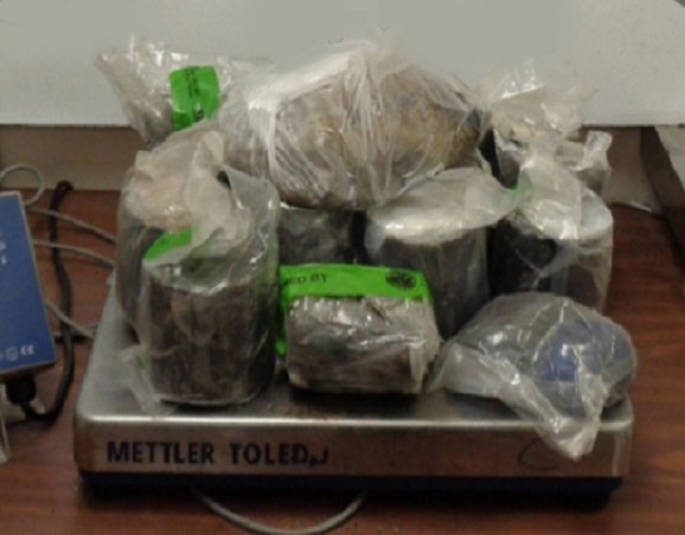 Packages containing 34 pounds of heroin seized by CBP officers at Hidalgo International Bridge