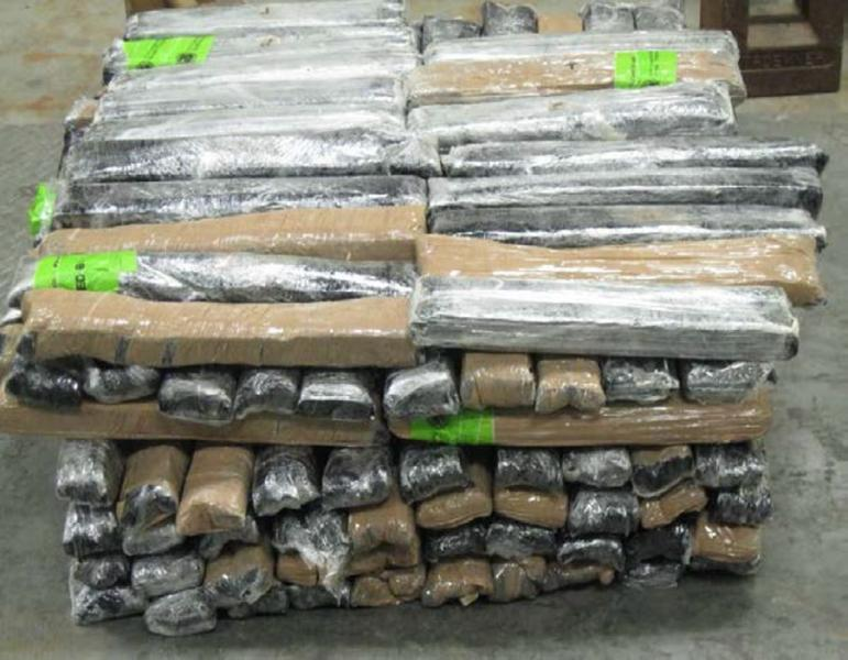 Bundles containing 166 pounds of methamphetamine seized by CBP officers at Hidalgo/Pharr/Anzalduas Port of Entry