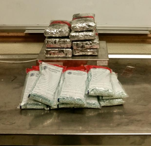 Packages containing 18.52 pounds of heroin and 47,062 pills of alleged Oxycodone seized by CBP officers at Laredo Port of Entry