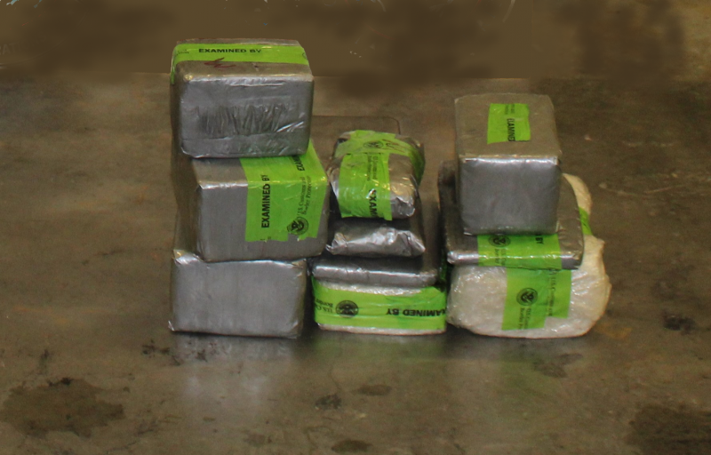 Packages containing 43 pounds of cocaine seized by CBP officers at Hidalgo Port of Entry