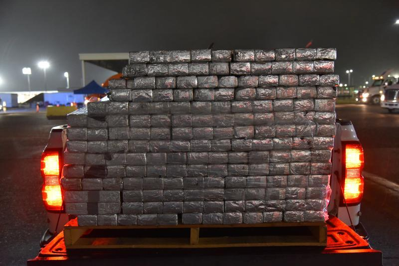 Packages containing 1,988 pounds of methamphetamine seized by CBP officers at Colombia-Solidarity Bridge