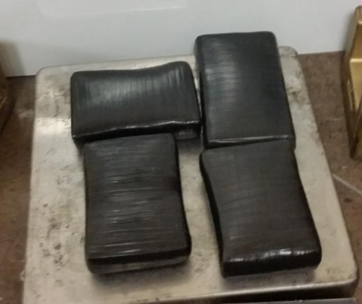 Packages containing 10 pounds of cocaine seized by CBP officers at Brownsville Port of Entry.