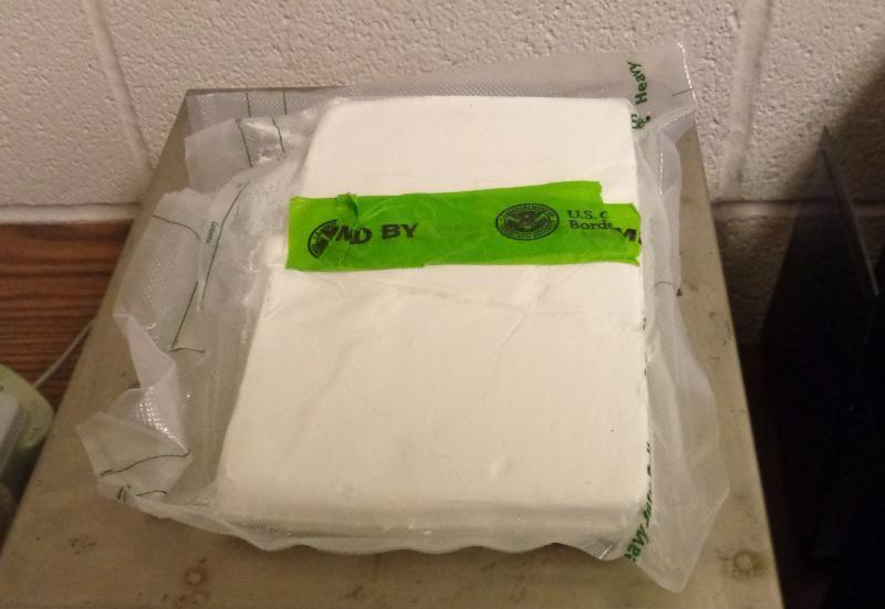 Package containing 2.25 pounds of cocaine seized by CBP officers at Brownsville Port of Entry