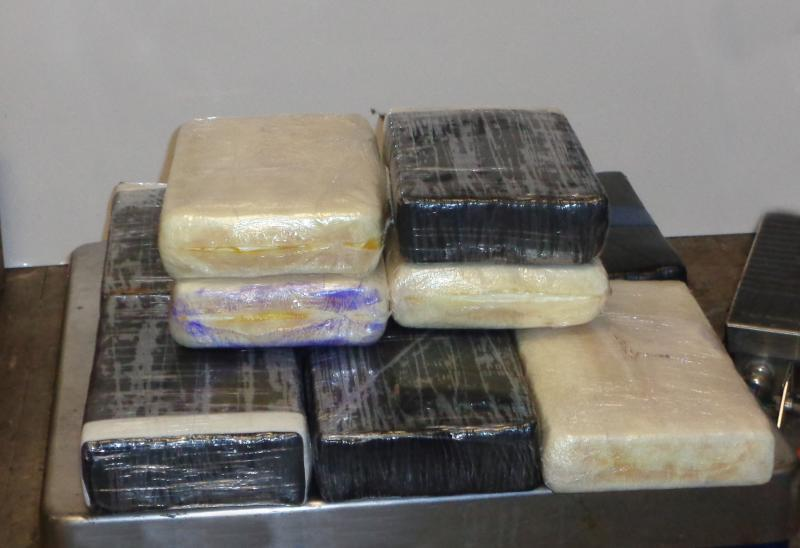 Packages containing 24 poounds of cocaine seized by CBP officers at Gateway International Bridge