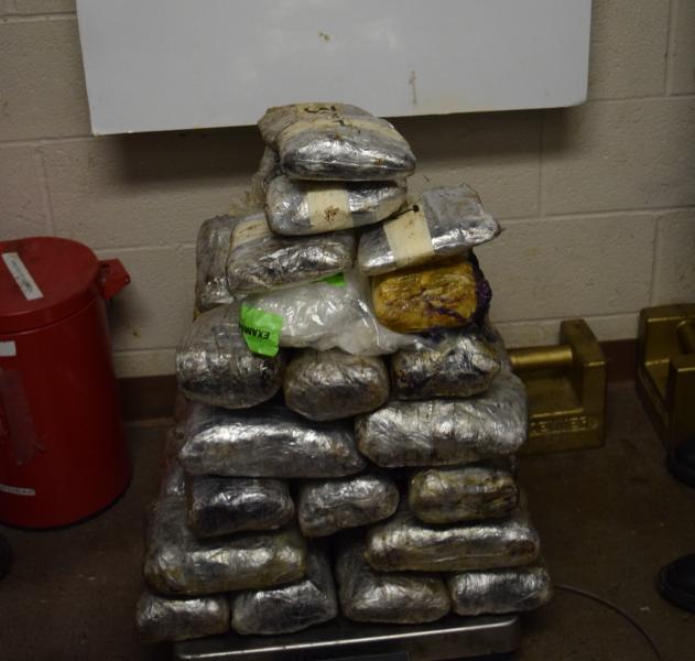 Packages containing 90.35 pounds of methamphetamine seized by CBP officers at Brownsville Port of Entry