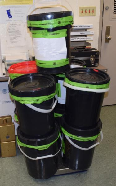 Buckets containing 137 pounds of methamphetamine seized by CBP officers at Brownsville Port of Entry
