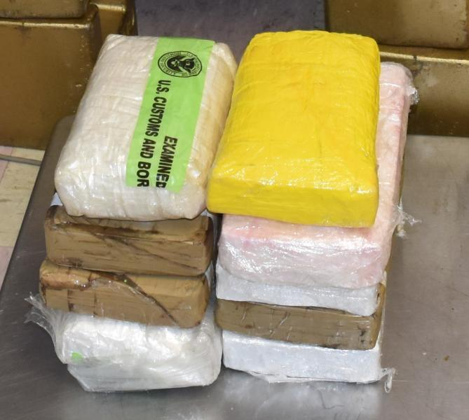Packages containing 21 pounds of cocaine seized by CBP officers at Brownsville Port of Entry