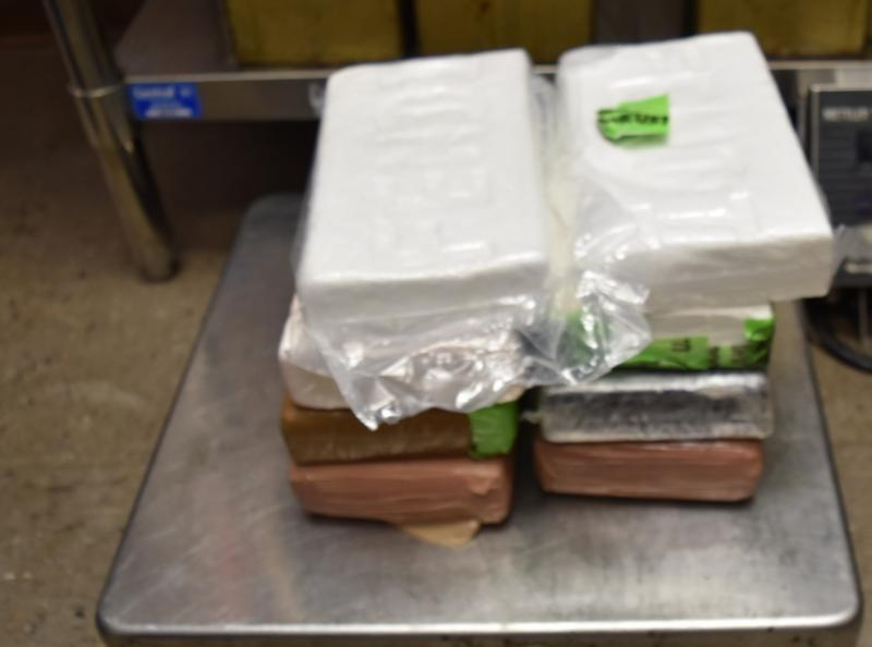 Packages containing 18.65 pounds of cocaine seized by CBP officers at Gateway International Bridge in Brownsville.