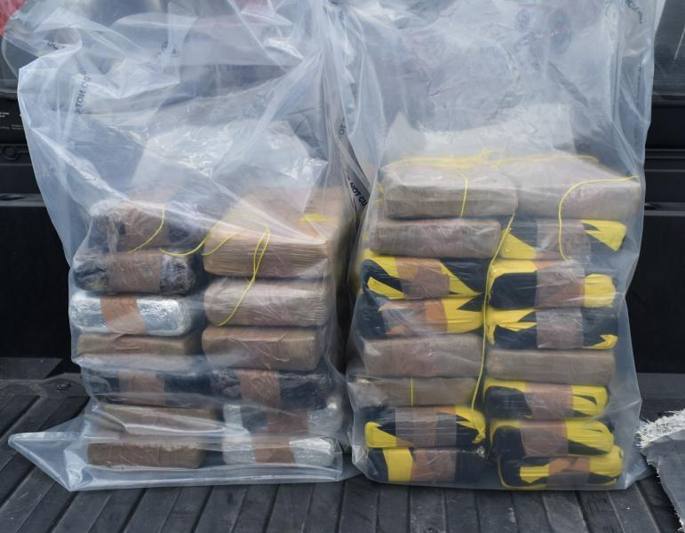 Packages containing nearly 70 pounds of cocaine seized by CBP officers at Veterans International Bridge.