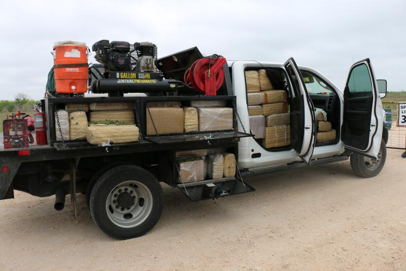 Border Patrol agents seized 1,728 pounds of marijuana hidden in a utility truck near Hebbronville, Texas