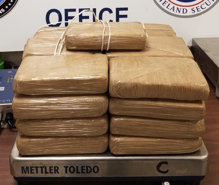 Packages containing 60 pounds of cocaine seized by CBP officers at Hidalgo International Bridge