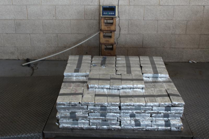 Packages containing 575 pounds of methamphetamine seized by CBP officers at Pharr-Reynosa International Bridge