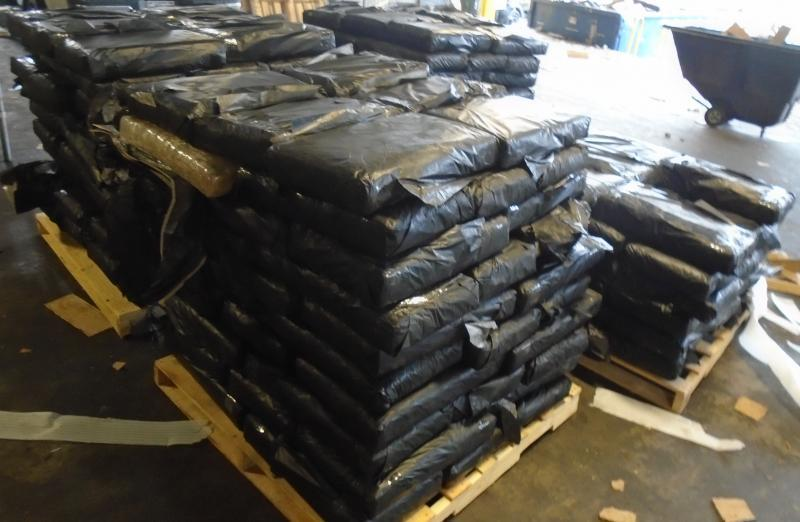 Packages containing 2,704 pounds of marijuana seized by Customs and Border Protection officers at the port of entry in Laredo, Texas.