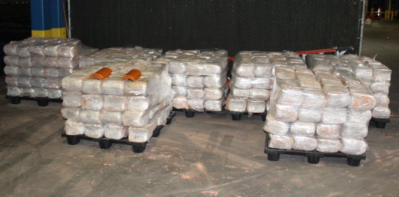 Packages containing 3,259 pounds of marijuana seized by CBP officers at World Trade Bridge.