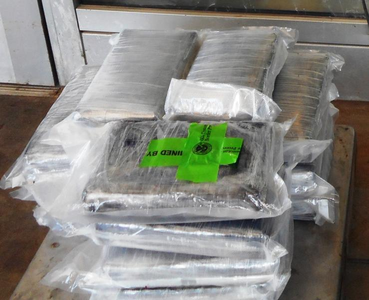 Packages containing 38 pounds of cocaine seized by CBP officers at Rio Grande City Port of Entry