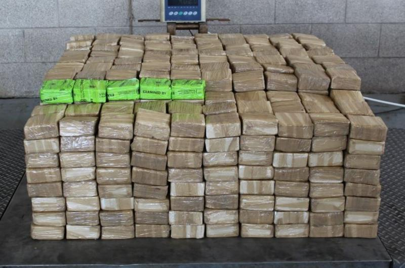 Packages containing 887 pounds of methamphetamine seized by CBP officers at Pharr-Reynosa International Bridge.