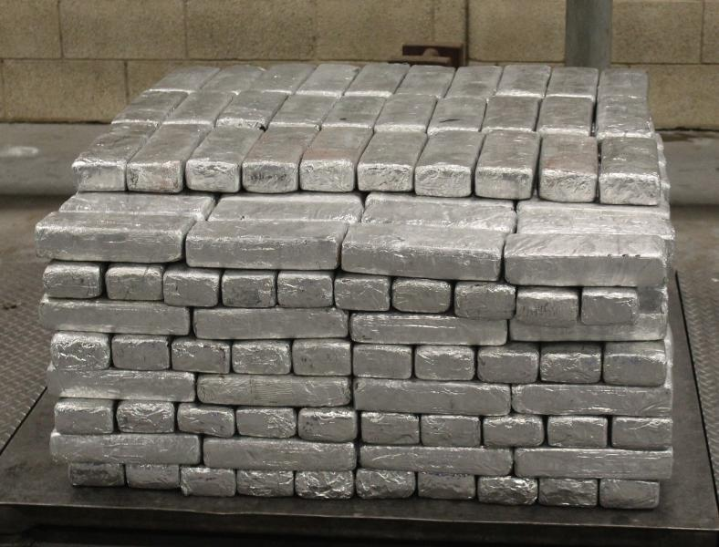 Packages containing 906 pounds of methamphetamine seized by CBP officers at Pharr-Reynosa International Bridge