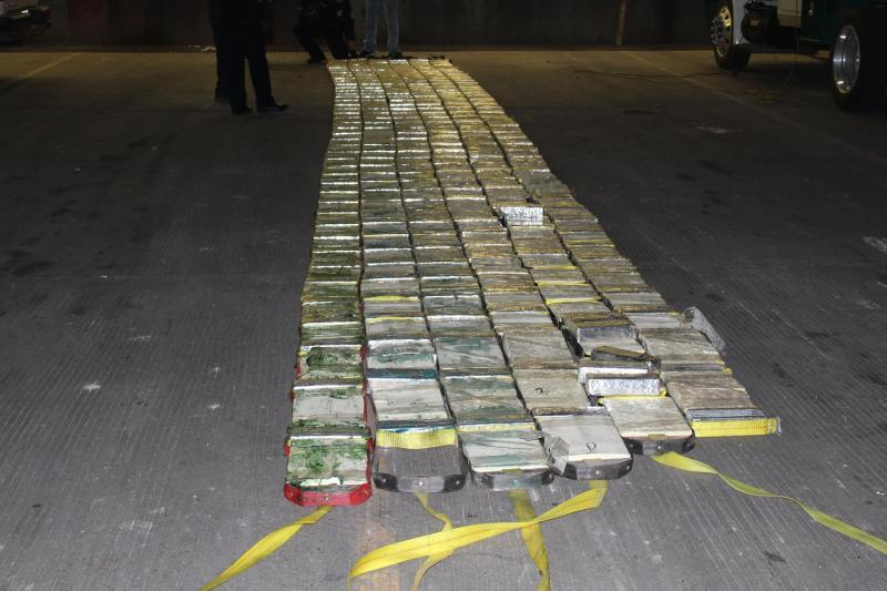 Packages containing 929.5 pounds of methamphetamine seized by CBP officers at Pharr International Bridge