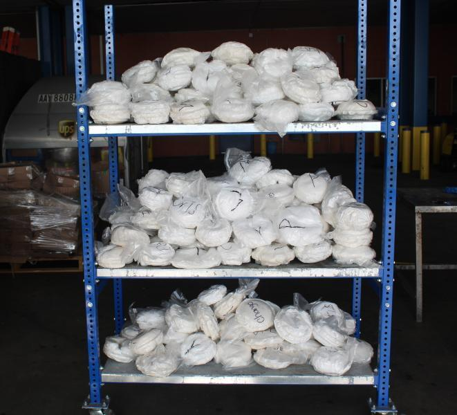Baggies containing 448 pounds of methamphetamine seized by CBP officers at World Trade Bridge