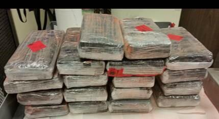 Bundles containing 44 pounds of cocaine seized by CBP officers at Laredo Port of Entry.