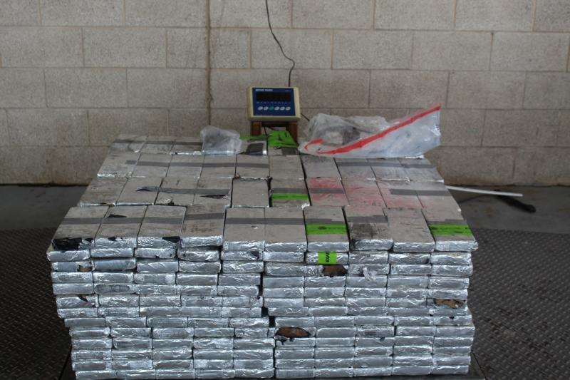 Packages containing 992 pounds of methamphetamine seized by CBP officers at Pharr International Bridge