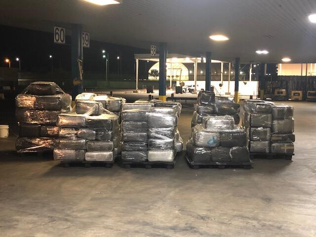 Packages containing 4,602 pounds of marijuana seized by CBP officers at World Trade Bridge