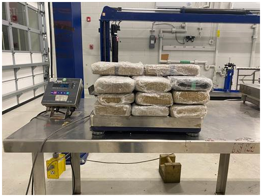Packages containing 49 pounds of cocaine seized by CBP officers at Juarez-Lincoln Bridge.