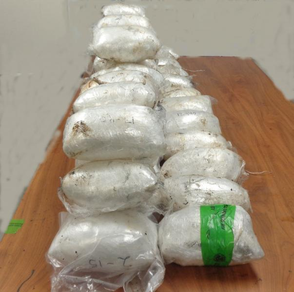 Packages containing 114 pounds of methamphetamine seized by CBP officers at Hidalgo International Bridge