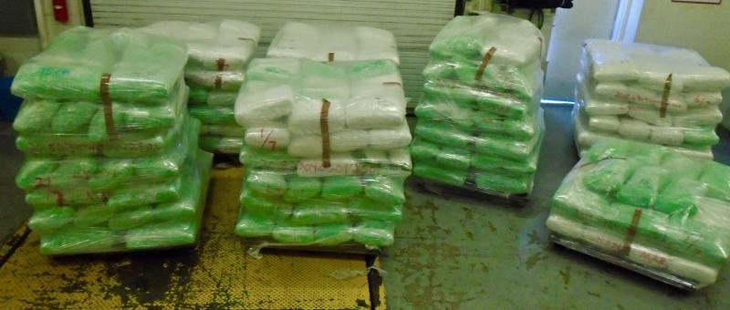 Packages containing 5,164 pounds of marijuana seized by CBP officers at World Trade Bridge
