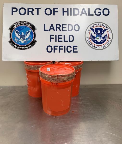 Buckets containing 122 pounds of methamphetamine seized by CBP officers at Hidalgo-Reynosa International Bridge