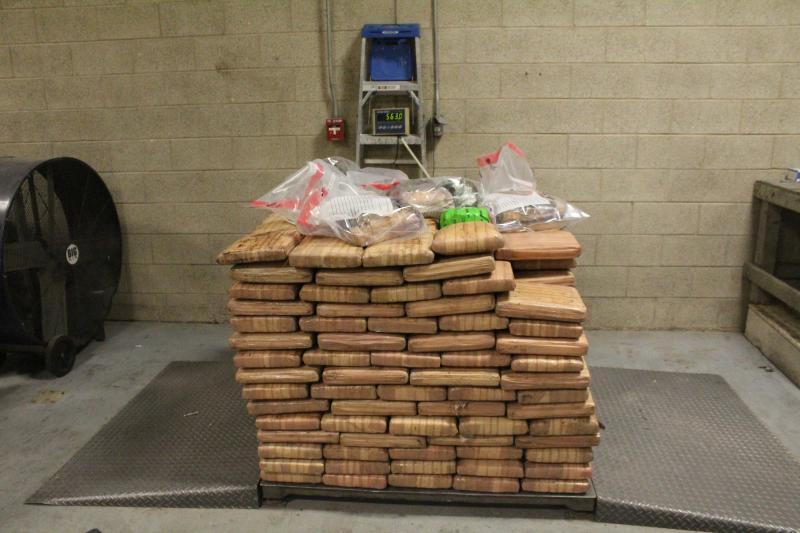 Packages containing 1,241 pounds of marijuana seized by CBP officers at Pharr International Bridge.