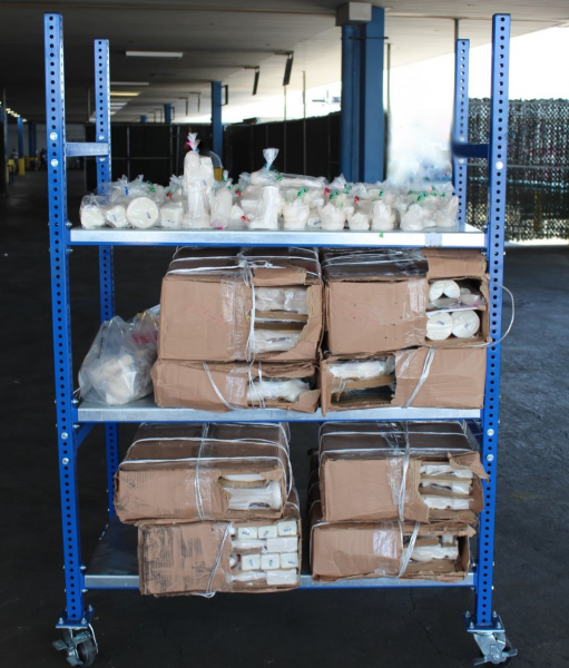 CBP officers seized 570.79 pounds of methamphetamine within a commercial consignment at World Trade Bridge